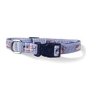 NWT Vineyard Vines gingham dog collar XL